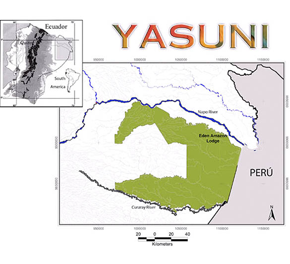 Map of Yasuni National Park and Eden Amazon Lodge
